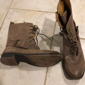 Nine West brown leather lace up combat boots